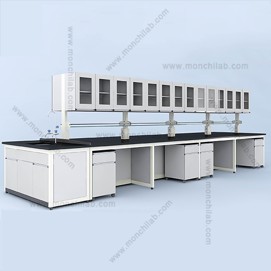 Lab Island Bench with Hanging Cabinet